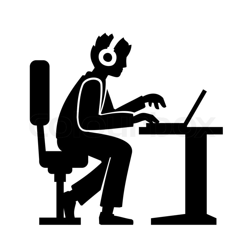 Programmer Silhouette Working On His Computer Vector