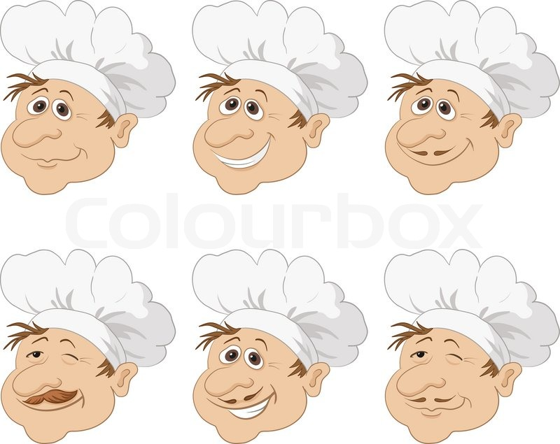 set cartoon heads chef cooks in a toque blanche caps funny