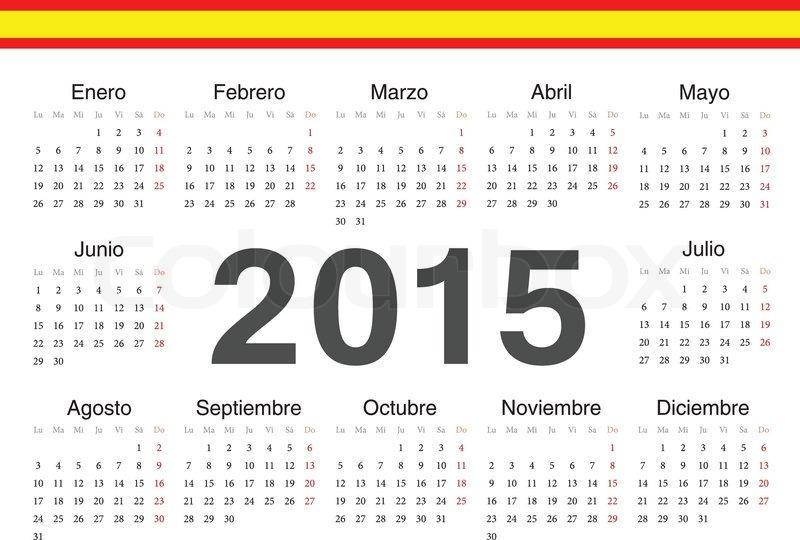 Stock vector of vector spanish circle calendar 2015 week starts from monday