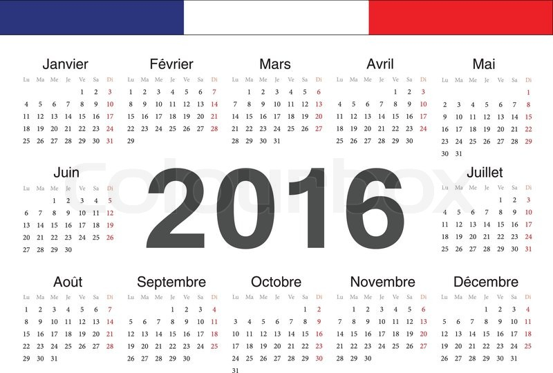 Vector French Circle Calendar 2016 Week Starts From Monday Stock