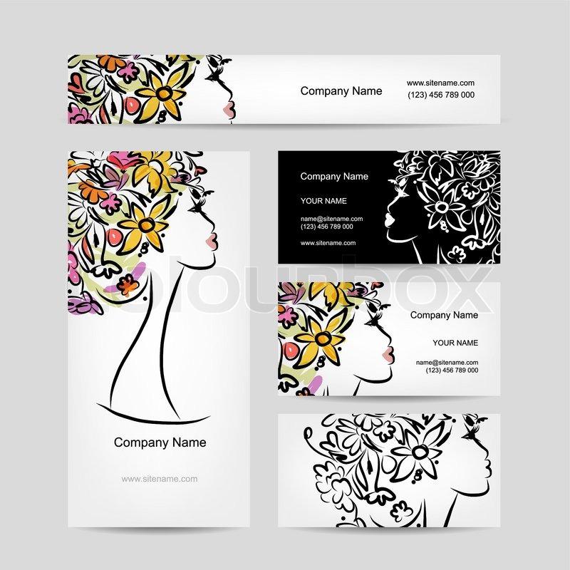 Business cards design with female floral head vector illustration business cards design with female floral head vector illustration stock vector colourbox colourmoves