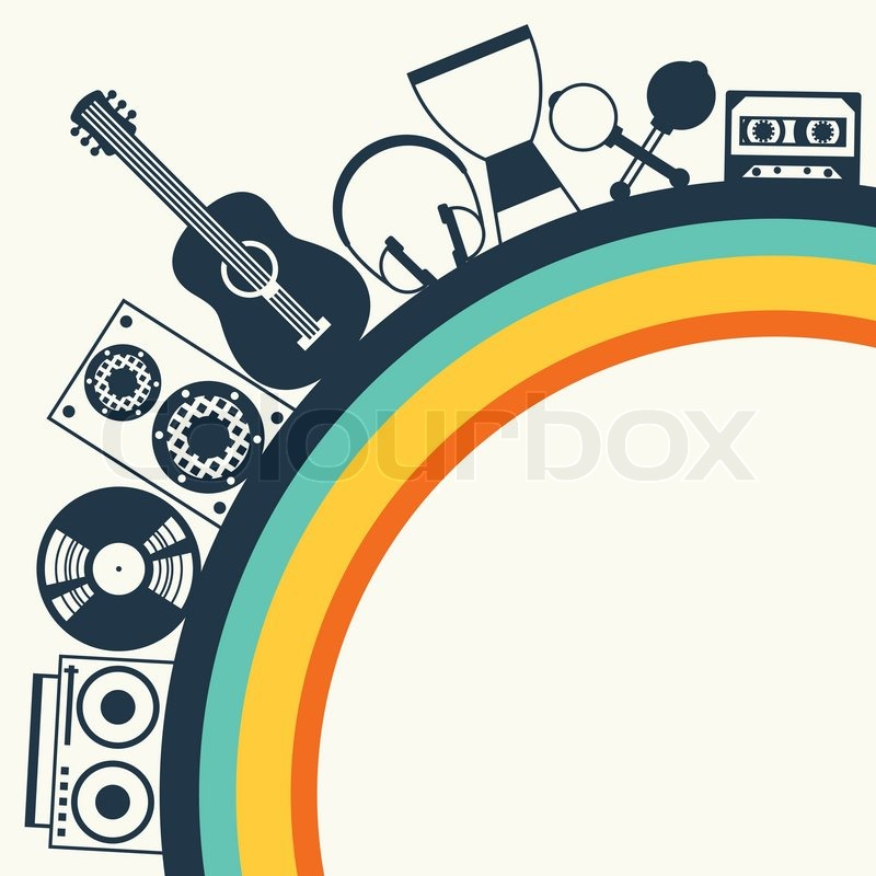 Background With Musical Instruments In Flat Design Style