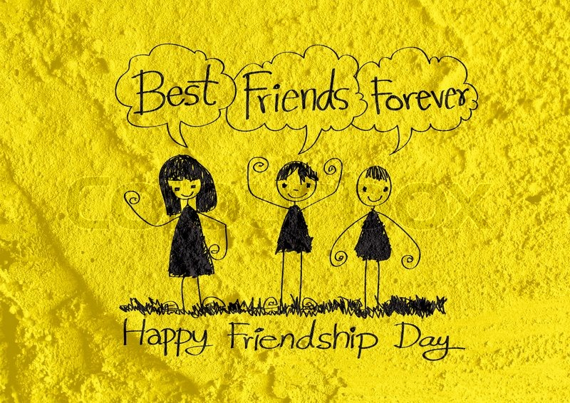 Happy Friendship Day and Best Friends Forever on wall texture ...
