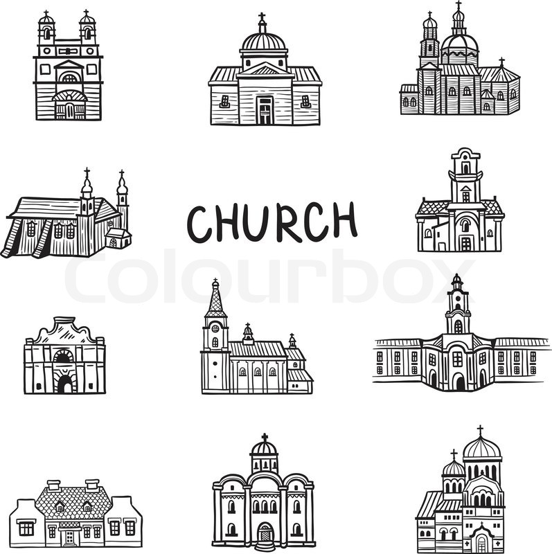 Set Of House Icons Doodles Church Line Illustration Hand Drawn Fun Arts Cartoon Style Vector