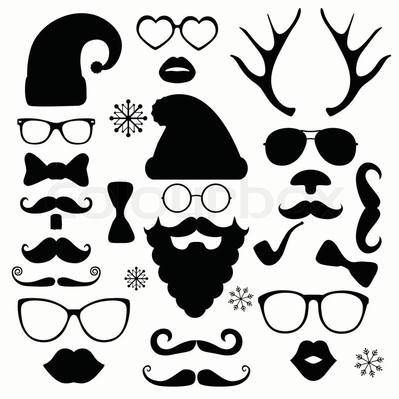 black and white christmas silhouette set hipster style illustration icons stock vector. Black Bedroom Furniture Sets. Home Design Ideas