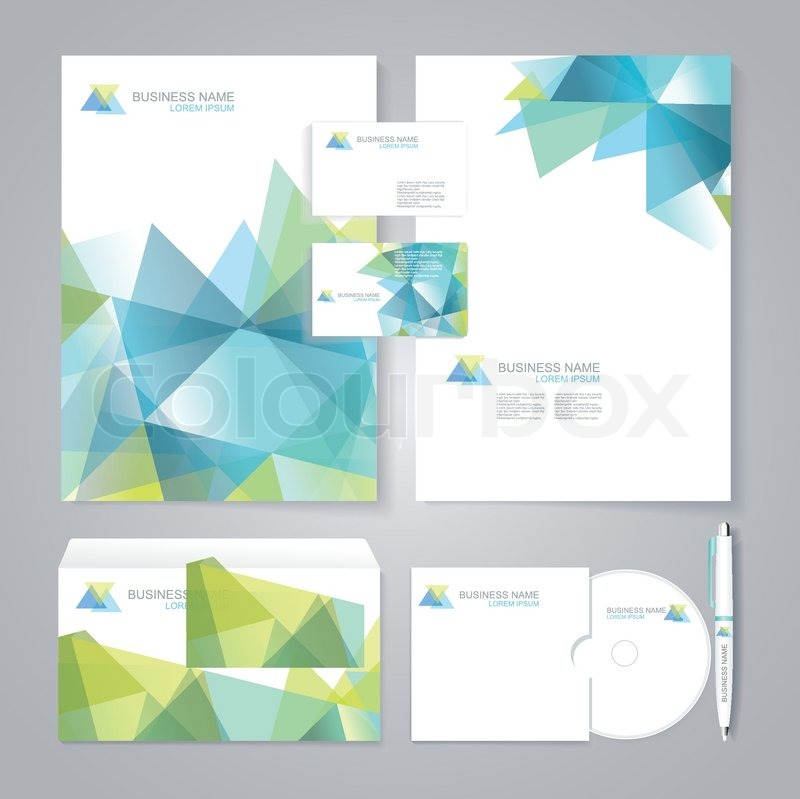 Corporate Identity Template With Blue And Green Geometric