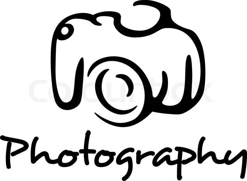 photo camera and photography emblem in outline style