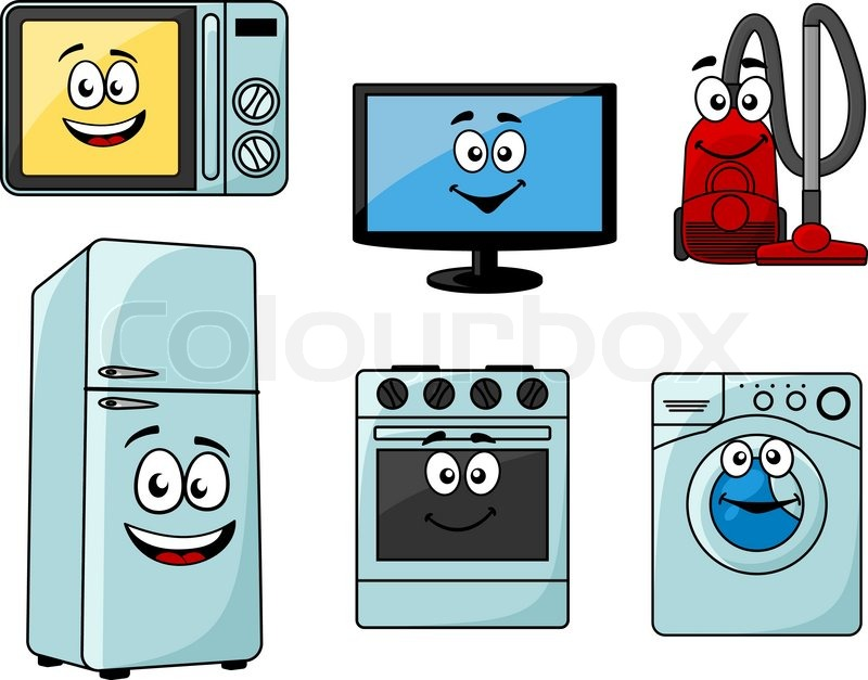 cartoon household appliances set with microwave tv vacuum cleaner