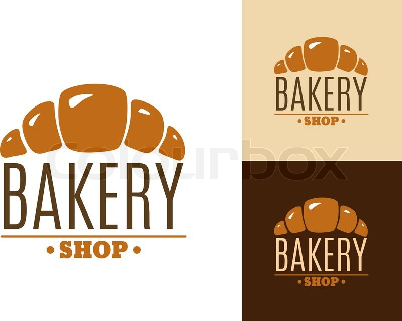 Croissant bakery emblem or logo with text Bakery Shop. For