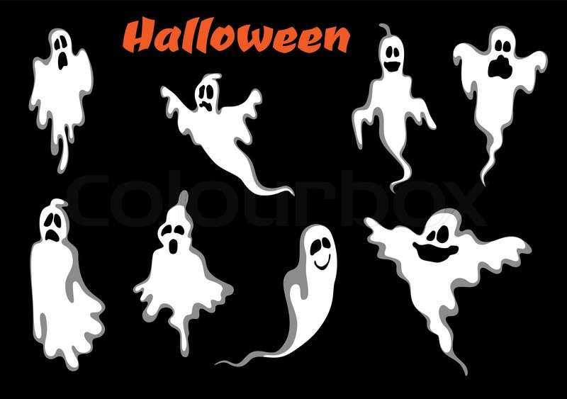 Night scary halloween ghosts set isolated on black background. For ...