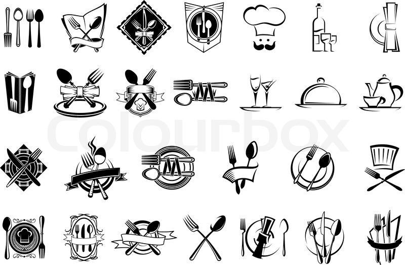 Food Restaurant And Silverware Icons Logo Emblems Or Symbols Set