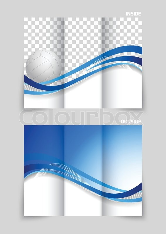 Tri Fold Brochure Design With Wavy Blue Lines And