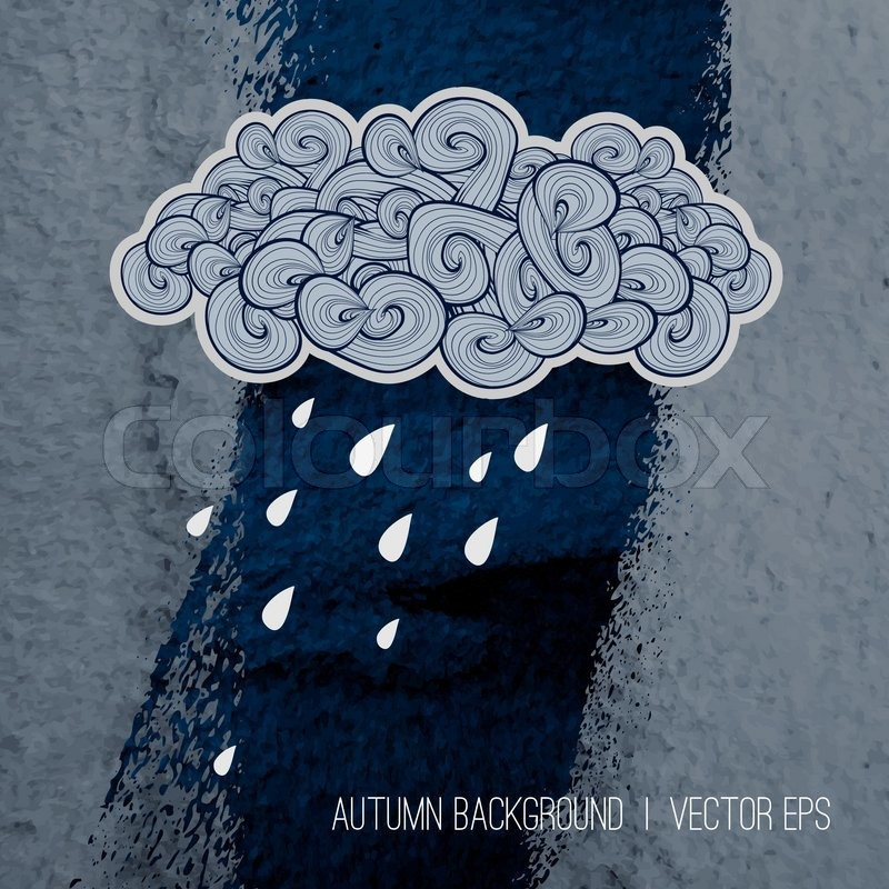 Rainy Day Background Autumn Season Design Poster Template Book Cover Dark Clouds Hand Drawn Cloud With Water Drops On Grunge