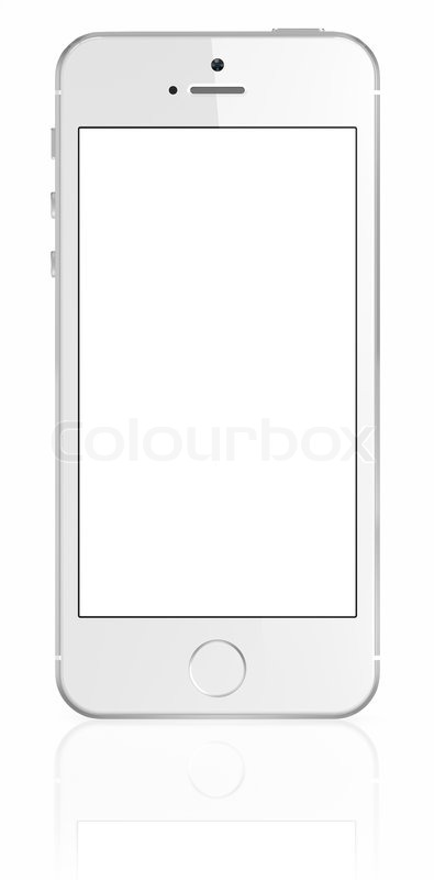 iphone cut out template - smartphone with blank screen on white background stock