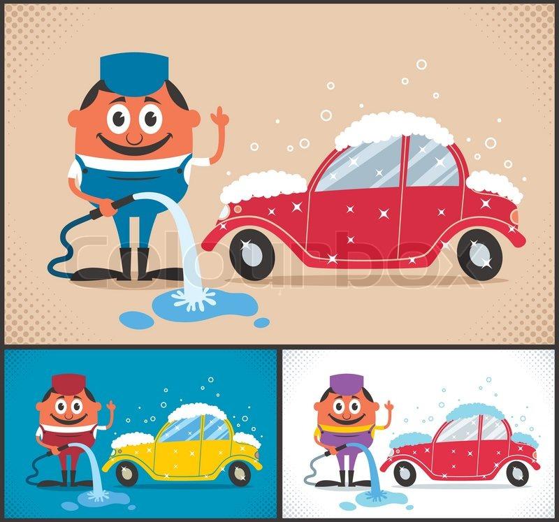 Cars 2 Cartoon Characters : Cartoon character washing car the illustration is