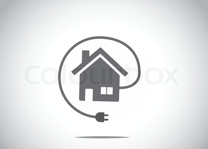 Home house energy solution with cable charger plug icon symbol ...