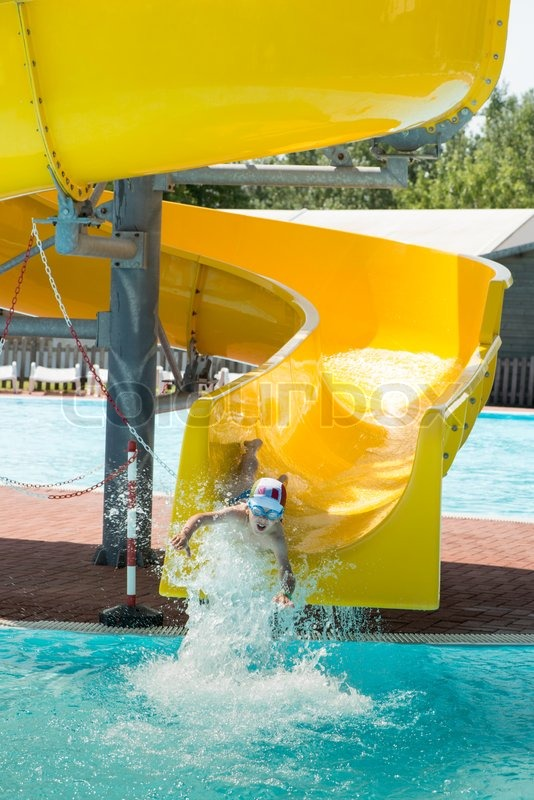 Children Slide Down A Water Slide Sunny Day Stock Photo Colourbox