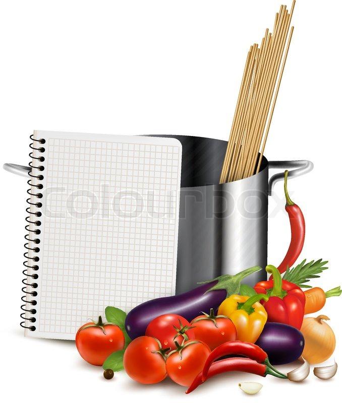 Rezept-Vorlage. Kochbuch, Gemüse und Auflauf. Vektor | Vektorgrafik ...