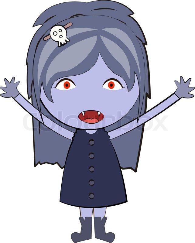 Cartoon happy vampire girl Cute doodles drawings | Stock ...