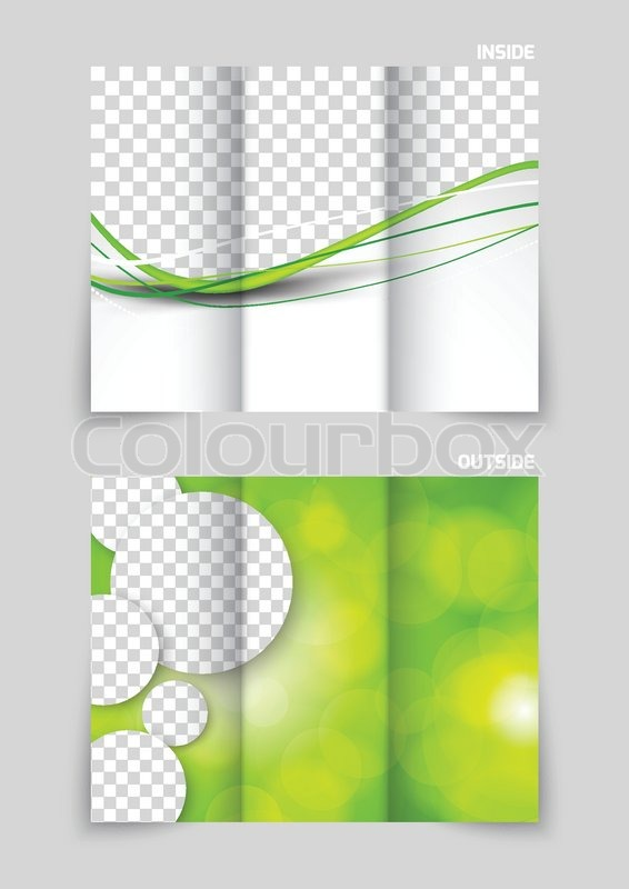 tri fold brochure template design with circles in green color stock vector colourbox