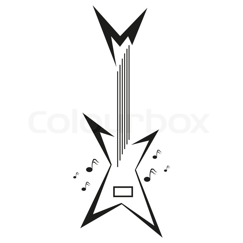 Electric Guitar And Music Notes Vector Logo Template | Stock