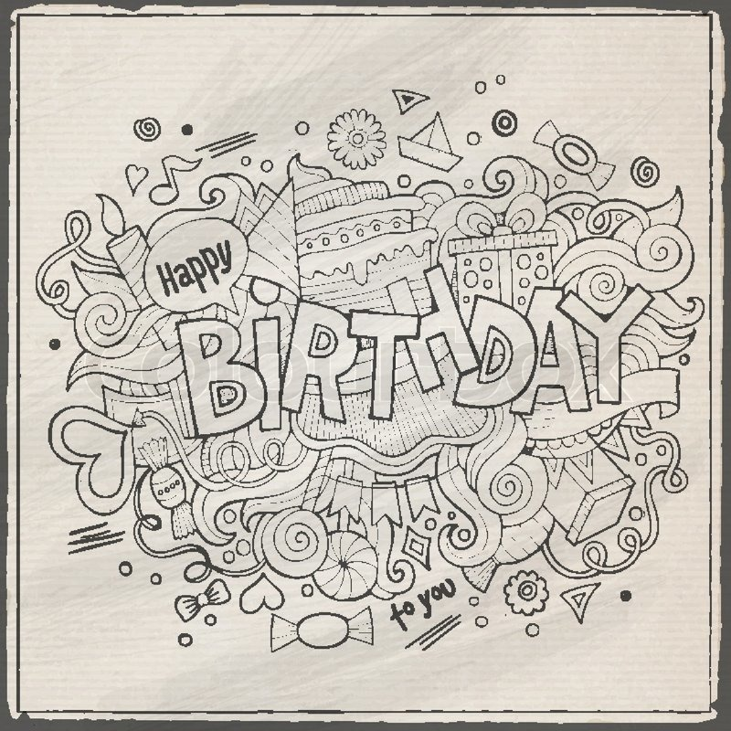 Birthday hand lettering and doodles elements background Vector – Doodle Birthday Card