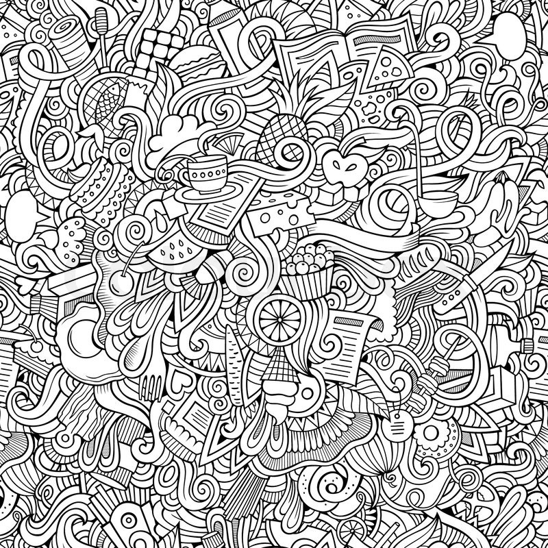 Cartoon Vector Doodles Hand Drawn Food Seamless Pattern Stock