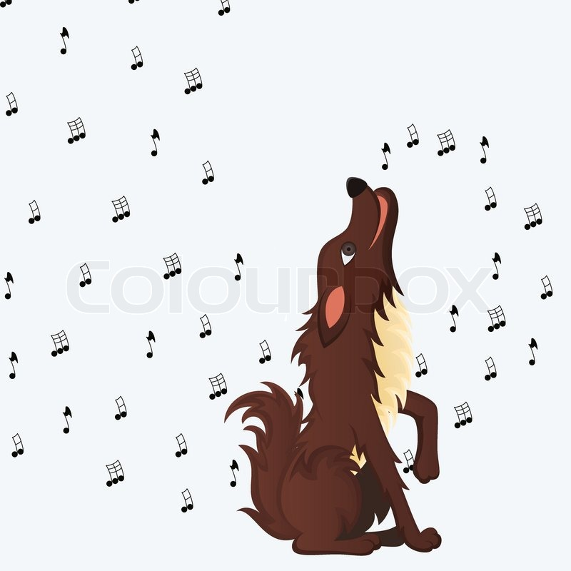 cute fluffy cartoon dog howling melody of musical notes  vector illustration