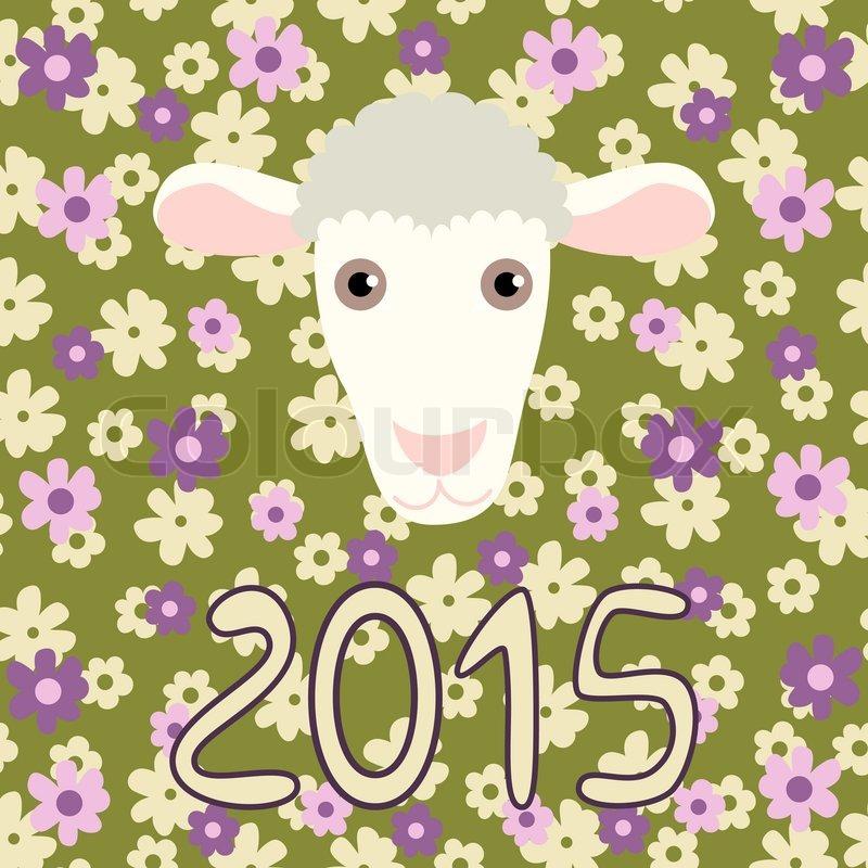 Retro-Karte mit Cartoon-Schafe und Blumen für Weihnachten und ...