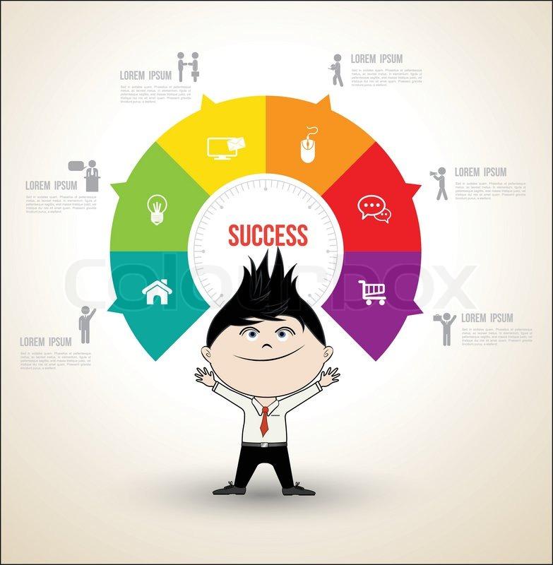 Vektor Kreis Konzepte mit Geschäftsmann / können für Info-Grafik ...