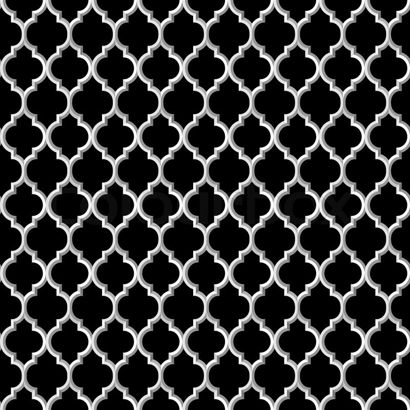 3d black and white islamic seamless pattern. Vector ...