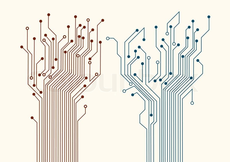 Tree Design On Circuit Board Wallpaper Vector Image: Two Abstract Circuit Trees. Vector Background