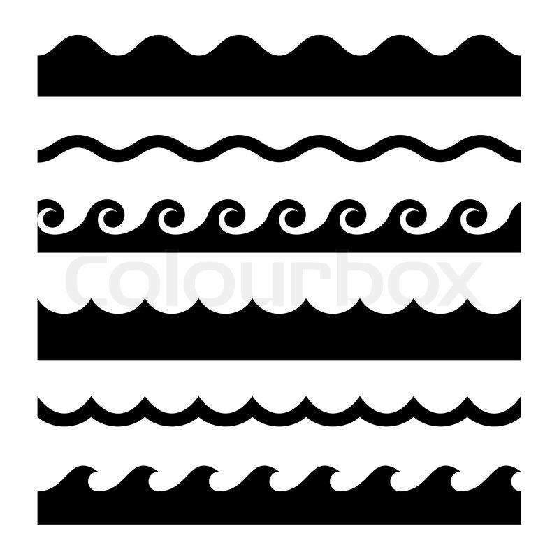 Nahtlose Welle Muster festgelegt. Vektor Vorlage | Vektorgrafik ...