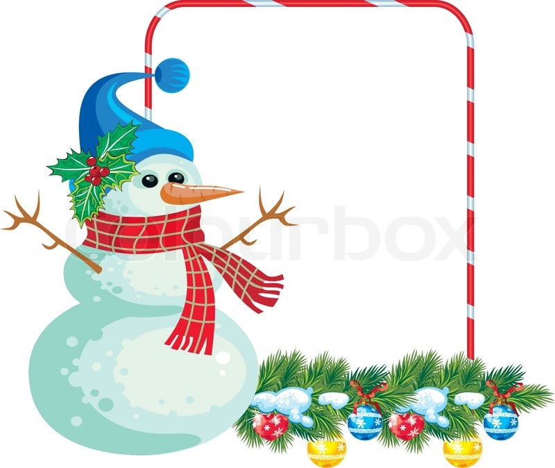 Frame with Christmas garland and snowman suitable for your greetings ...