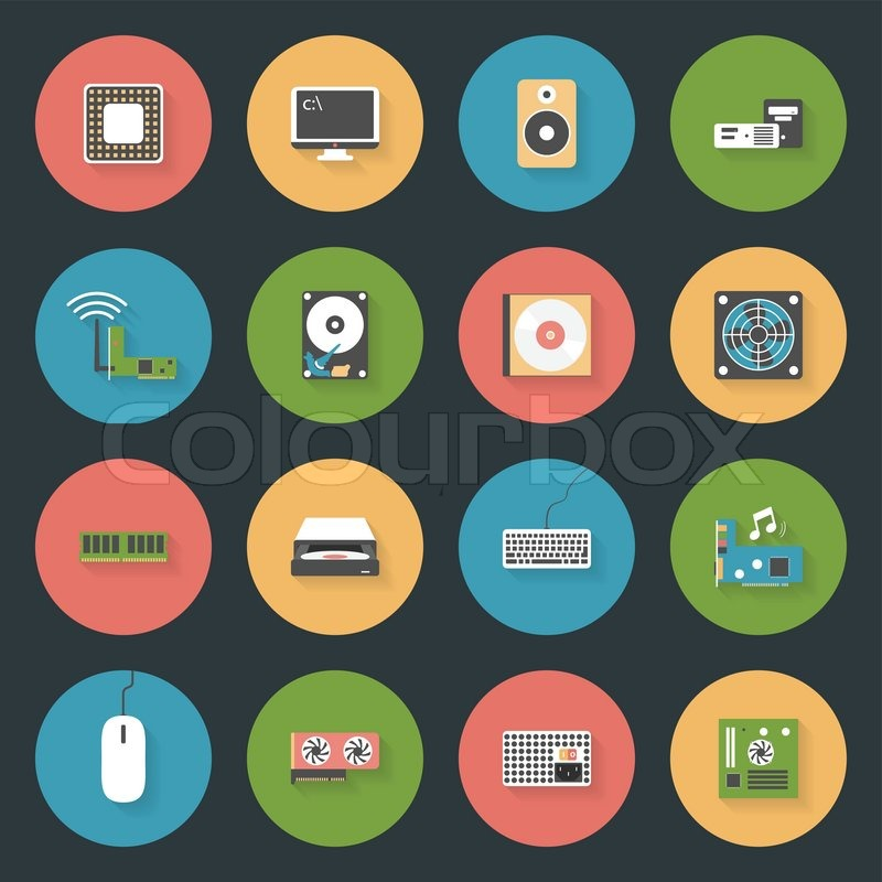 Computer Peripherals And Parts Flat Icons Set Design