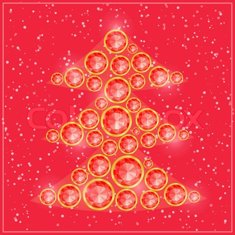 Pink christmas tree composed from round shiny gemstones
