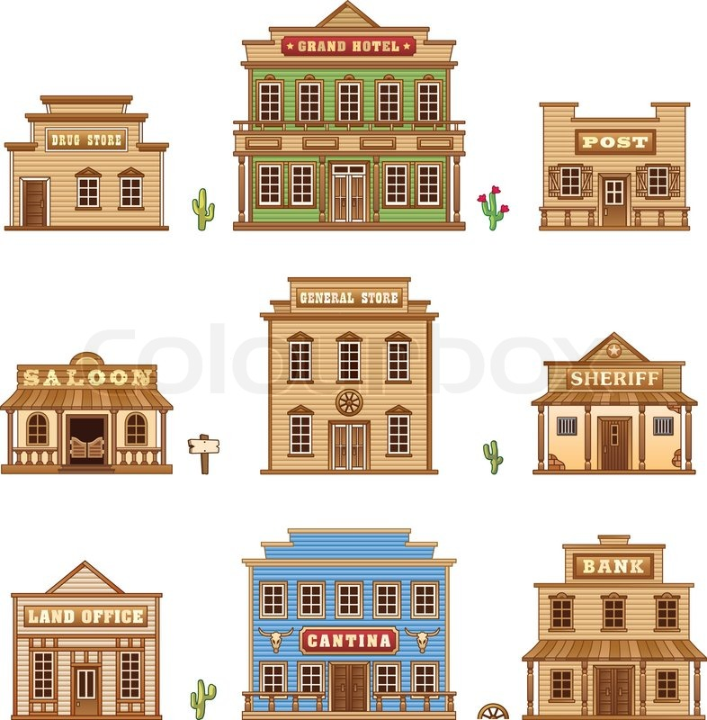 Wild West Buildings Set For Game Level Stock Vector Colourbox