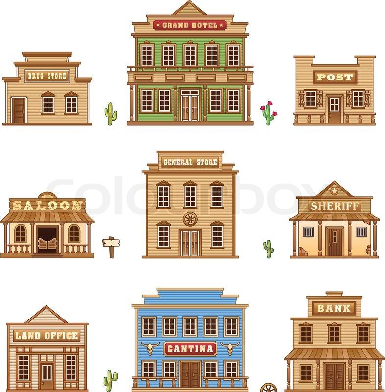 Wild-West-Gebäude | Vektorgrafik | Colourbox