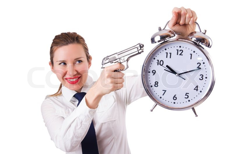 10987381-woman-with-clock-killing-the-ti