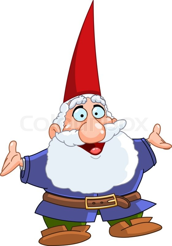 Happy Gnome Raising His Arms Stock Vector Colourbox