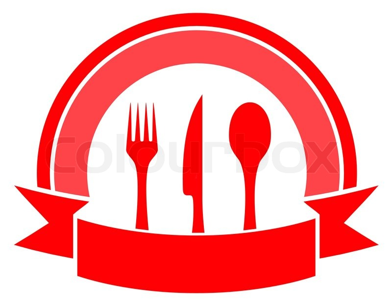 Red Food Icon On White Background With Cuisine Utensil