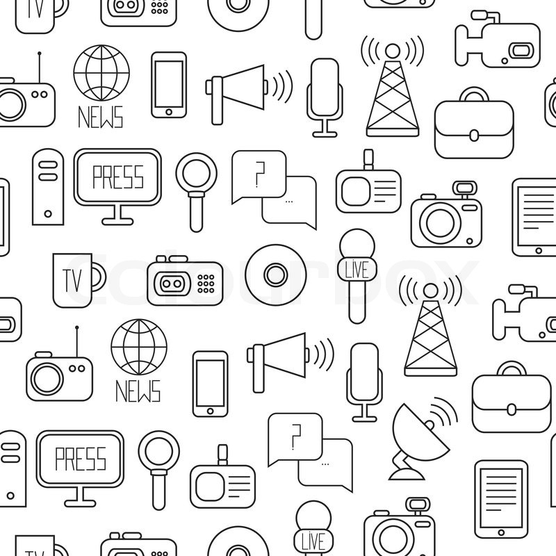 Seamless Pattern Of Flat Colorful Vector Journalism Icons Mass Media Communication Illustration Consists Computer News Reporter Camera