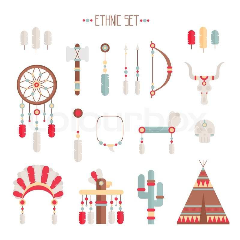 Vector Colorful Ethnic Set With Dream Catcher Feathers Arrows And