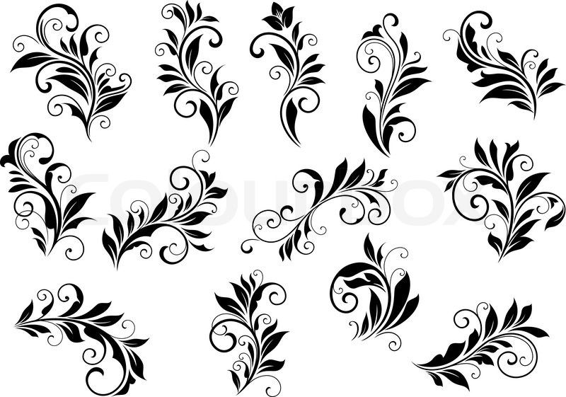 Retro floral motifs and foliate retro vintage vignettes