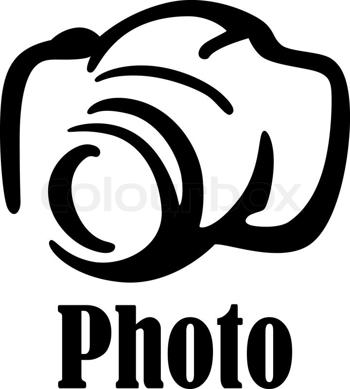 Black And White Sketch Digital Camera Icon Or Symbol For Art