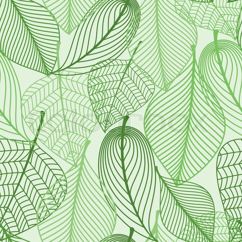 Summer Or Spring Foliage Green Tree Leaves Seamless Pattern Stunning Green Pattern Background