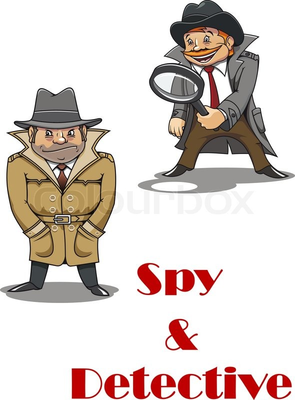 I Spy Cartoon Characters : Spy and detective cartoon characters with a stereotypical