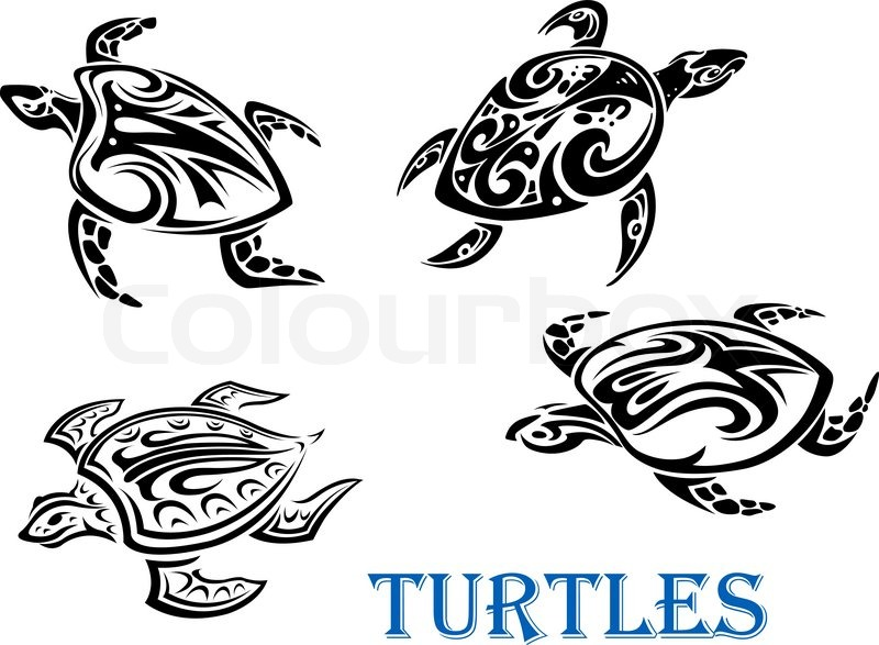 Swimming Turtles Set In Tribal Outline Stock Vector Colourbox