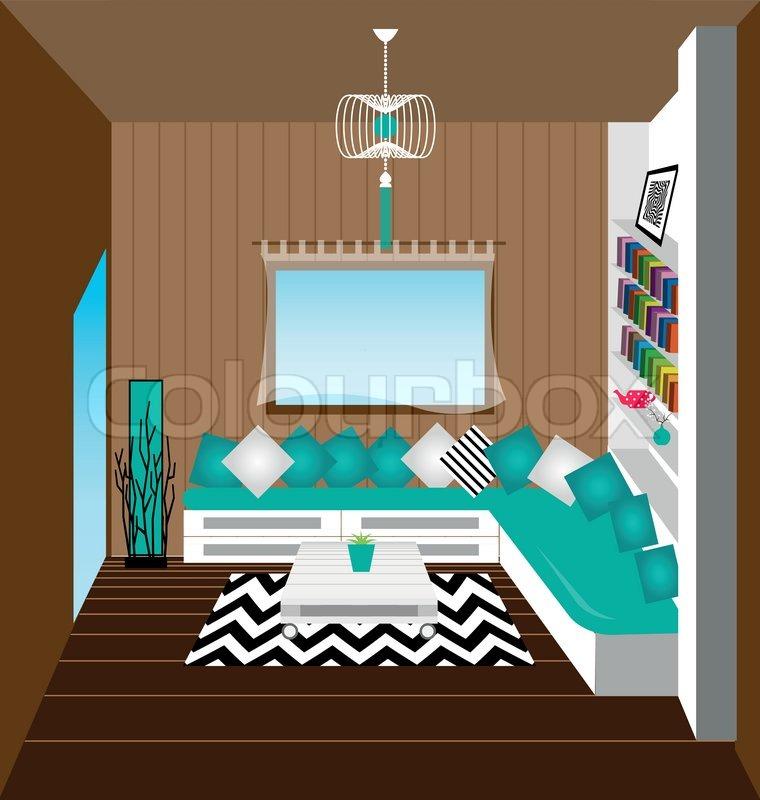 Wohnzimmer interior vektor vektorgrafik colourbox for Wohnzimmer interior