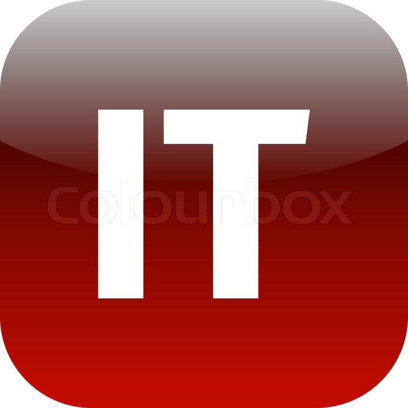 It Domain Icon Italy Information Technology Red International